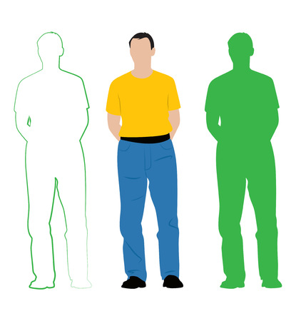 Man in an orange shirt and jeans. A simple illustration, silhouette and contour