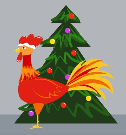 New Years symbol - a rooster and Christmas tree. Vector illustration Illustration