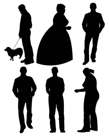 Set of black silhouettes. Men and women in different poses. Vector illustration Illustration