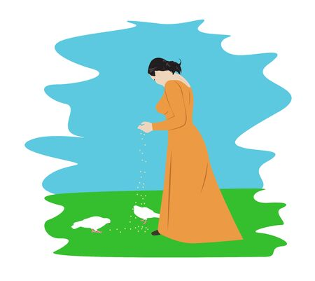 Young girl in a long dress feeding pigeons. Cartoon vector illustration Illustration