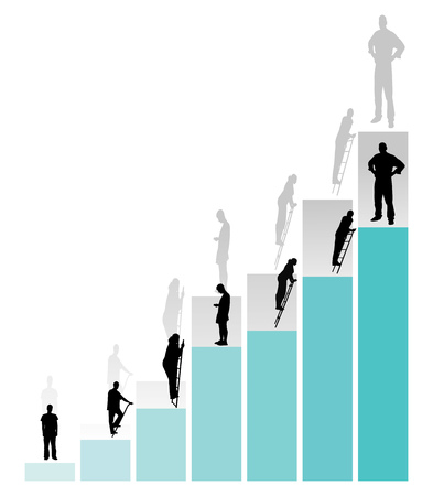 Graph of success. People are moving up the career ladder. Vector illustration Illustration