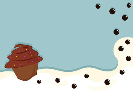 Chocolate cupcake and buttons in whipped cream. Cartoon vector illustration