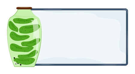 Banner for text and jar of pickled cucumbers. Vector illustration Illustration