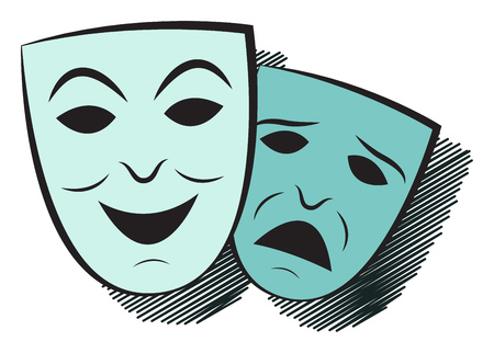 Two masks. One cheerful, the other sad. Simple vector illustration