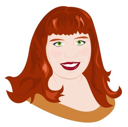 plump lips: Portrait of a young red-haired chubby girl. Vector illustration