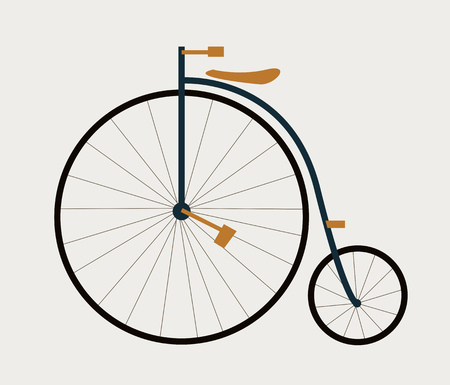 Old french high wheeler bicycle. Vector ilustration flat style
