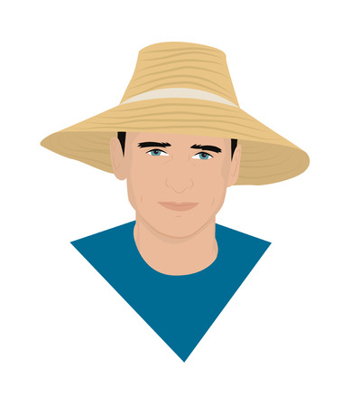 grower: Portrait of a farmer in a straw hat. Vector illustration