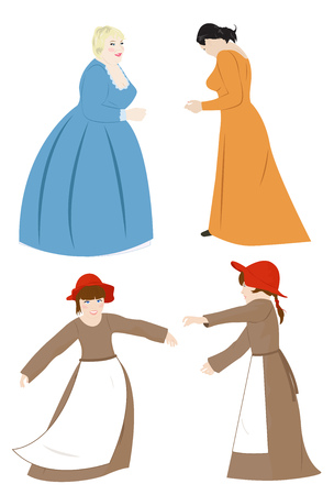 Girls and women in medieval dresses. Vector illustration
