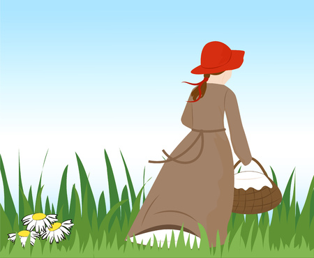 fairy: A little girl in a red hat with a basket runs away. Vector illustration