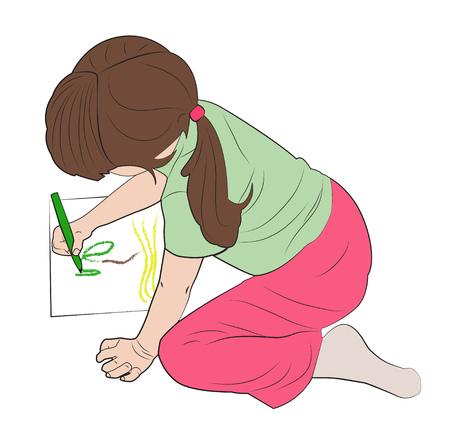 Niña dibuja una imagen, se sienta en su regazo. Ilustración vectorial