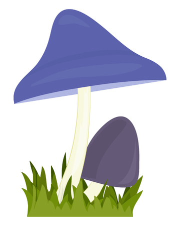 Two blue mushrooms. Big and small toadstool. Vector cartoon illustration