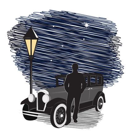 Nacht. De man staat naast een retro auto onder een straatlamp. Vector illustratie