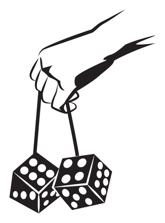 Hand holds the big dice. Black and white vector illustration