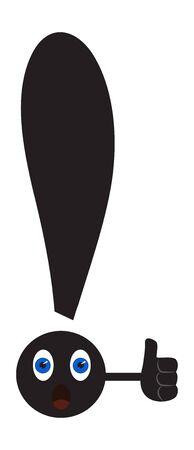 Signo de exclamación con ojos sorprendidos, muestra el pulgar hacia arriba. Ilustración vectorial Ilustración de vector