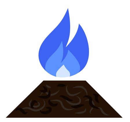 Burning Natural Gas Flame Above The Ground Vector Illustration