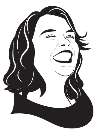 Portrait of happy laughing girl. Vector illustration