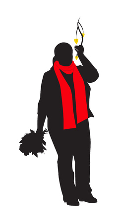 Silhouette of a plump girl in red scarf. She holds a birch branch with yellow leaves. Vector illustration