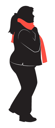 Silhouette of a plump girl in profile in a red scarf flat icon design vector illustration Illustration