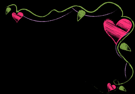 Black background with a beautiful pattern. Corner with curls with leaves and hearts. Vector illustration