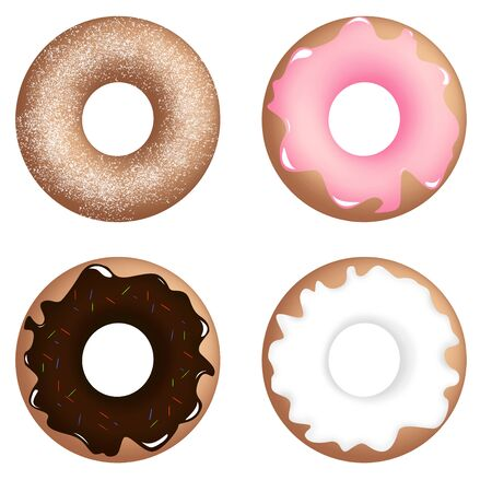 Four different donuts, icing, powdered sugar and sprinkles Stock Photo
