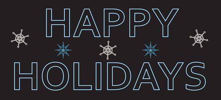 Blue neon text, happy holidays. Vector illustration
