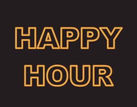 Yellow neon text, happy hour. Vector illustration