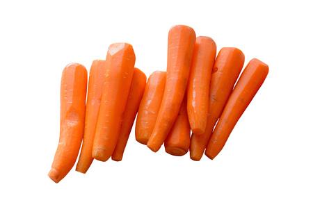 Bright orange peeled carrots on a white background