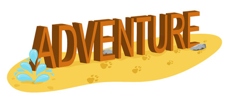 Word Adventure in the desert and traces of the animal. Vector illustration