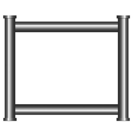 Frame made from shiny metal pipes. Illustration