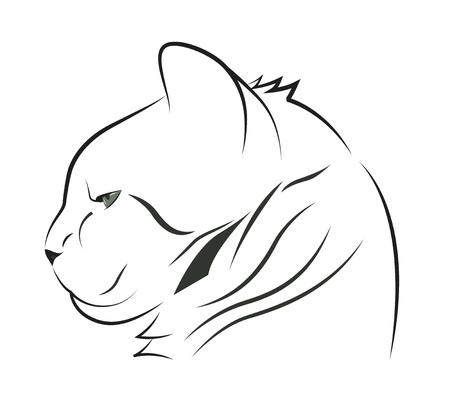 Portrait of a cat in profile, sketch. Vector illustration