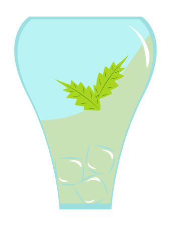 Glass with a mojito cocktail vector illustration. Illustration