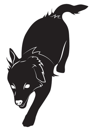 Running dog, black silhouette, top view. Vector illustration