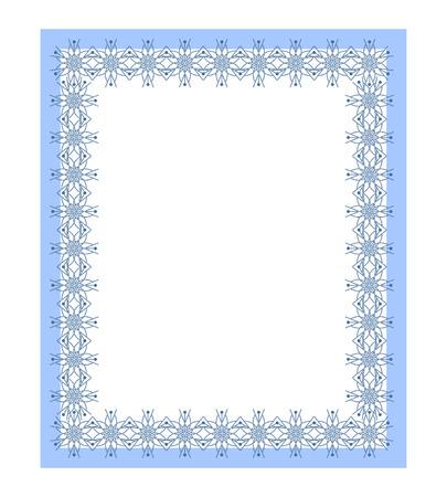 Blue rectangular frame with lace pattern. Vector illustration Illustration