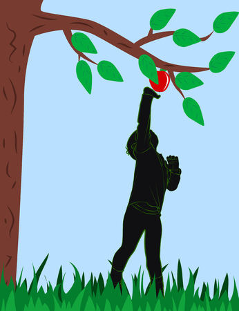Child reaches for a ripe red apple. Vector illustration Illustration