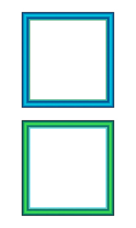 Two square frames, green and blue. Vector illustration