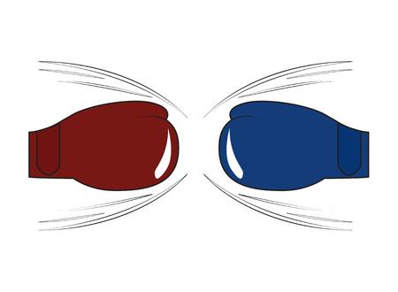 Boxing gloves of opponents before punch Vector illustration Illustration