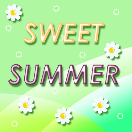 Jelly text sweet summer on a gentle green background with white flowers Stock Photo