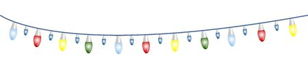 Garland with multicolored light bulbs, green, red, yellow and blue. Illustration