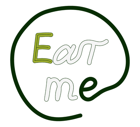 The text eat me, green and gray letters. Vector illustration.