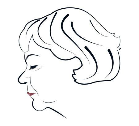 Portrait of a mature woman in profile. Illustration