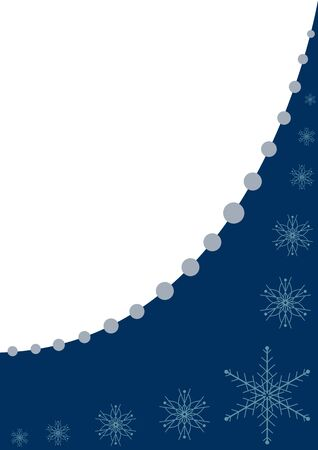 Blue frame with snowflakes and beads vector illustration Illustration