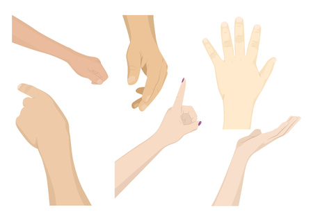 A set of human hands. Different gestures. Vector illustration