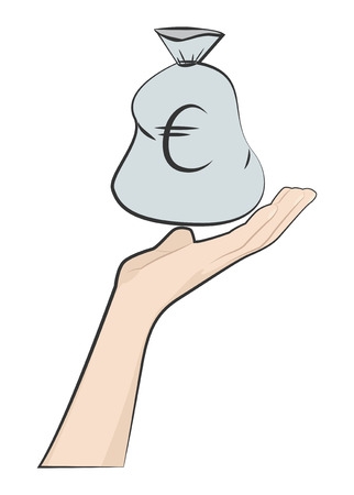 On the open palm a bag with euro. Vector illustration