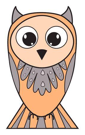 Beautiful cartoon owl with big eyes. Vector illustration
