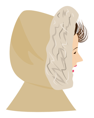 Girl in the hood, wind blows her hair. Portrait in profile. Vector illustration Illustration