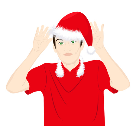 The guy in a Christmas cap teasing. Vector illustration