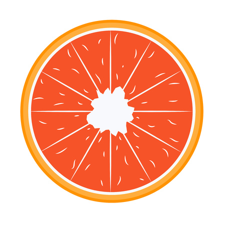 Slice of red grapefruit in flat. Vector illustration