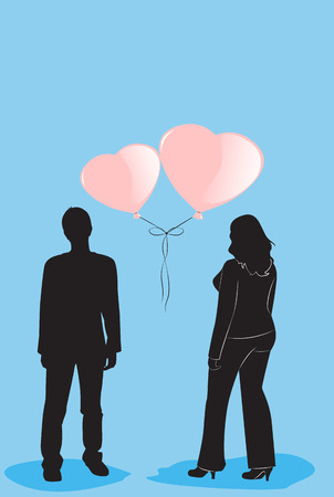 Black silhouettes man and woman on a blue background and balloons - hearts. Vector illustration  イラスト・ベクター素材