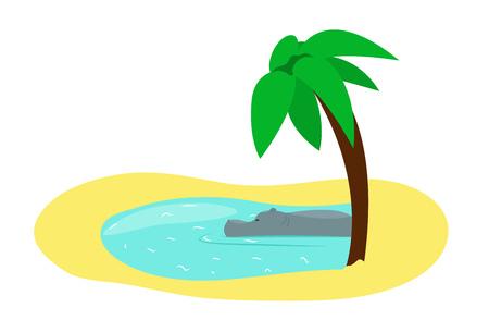 Hippopotamus sleeps in the lake under palm tree. Vector cartoon illustration.