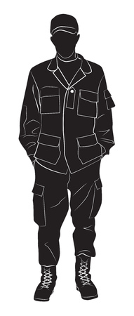 Silhouette of a soldier in a relaxed pose. Vector illustration Çizim
